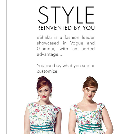 Shakti custom made dresses landing page